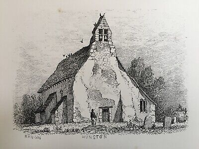1851 Antique Print; St. Leodegar's Church, Hunston, Sussex after R.H. Nibbs