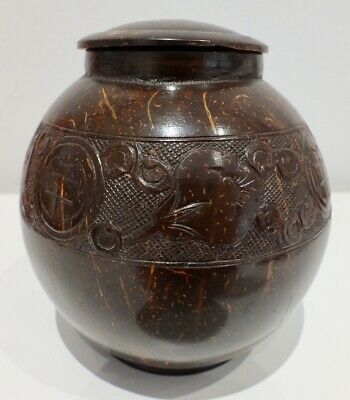 Nicely Carved Oriental Coconut Jar And Lid Excellent Condition
