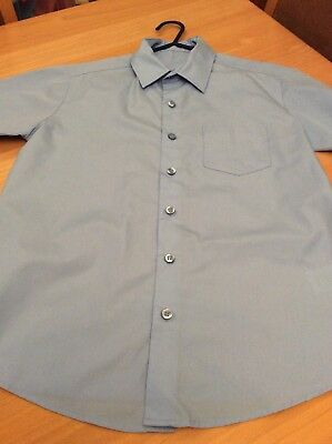 boys clothes 10-11 years George Blue Poly Cotton Short Sleeved Shirt