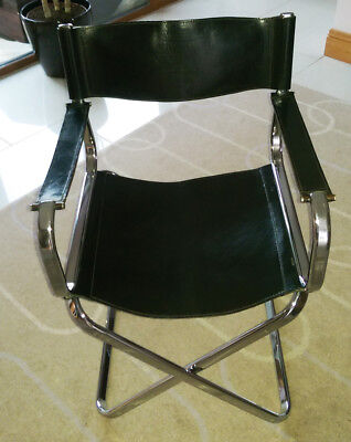 Arrben Black Leather and Chrome Directors Chair. Vintage Italian Made 1970's Mod