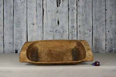 Antique wooden dough bowl / Table cookware / Wooden carved trencher / Home decor