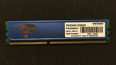 Patriot 4GB (1X4GB)  PC3-10600 1333MHz DDR3 Ram memory PSD34G13332H