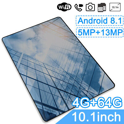 10.1 inch Tablet Android 8.1 4G+64G Phablet Quad Core WIFI Laptop Dual SIM GPS