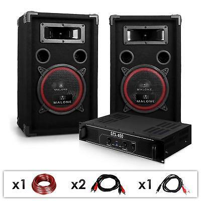 Set Dj Pa 1000W Casse Altoparlanti Amplificatore Finale Karaoke Disco Party Pro