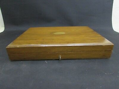 Antique Walnut Cutlery Box + Key Containing 12 Place Silver Collar Fish Cutlery