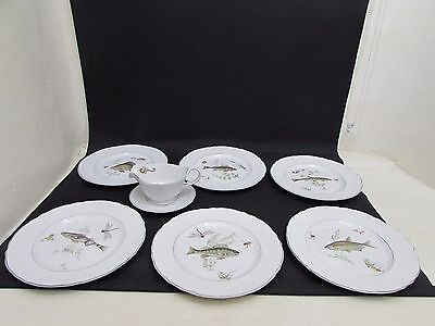 6 Marlborough Old English Ironstone Fish Plates Simpson England & Sauce Boat