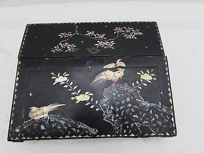 Antique Chinese Lacquered Mother Of Pearl Inlay Writing Slope