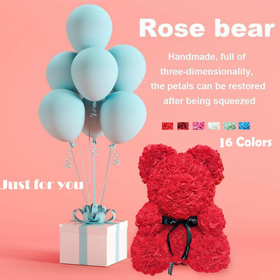 25/40cm Rose Teddy Bear /w Heart Flower Gift For Girlfriend Birthday Wedding UK