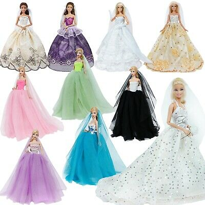 Handmade Princess Wedding Party Clothes Bridal Outfit Gown Dress For 12 in. Doll