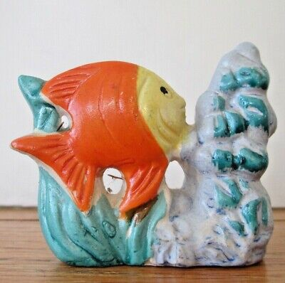 Vintage Glazed Ceramic Fish Tank Decoration Fish & Seaweed Made in Japan 1950s