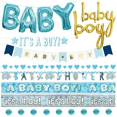 Boys Baby Shower Banners - Blue Decorations, Foil,Jointed, Ribbon,Garlands,Giant