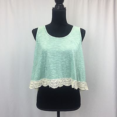 Forever 21 Tank top white bottom lace beautiful Top Large Teal