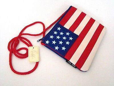 USA Flag Purse Old Glory Passport Bag Zipper and Lined with strap