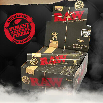 Raw Black Rolling Papers King Size Slim Classic Natural Unrefined Skins 110mm