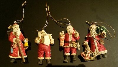 LOT of 4 Vintage Porcelain Santa Claus Ornaments - Made in Taiwan - Nice Detail