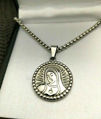 Personalised Silver Virgin Mary Religious Prayer Necklace, Gift For Mum UK