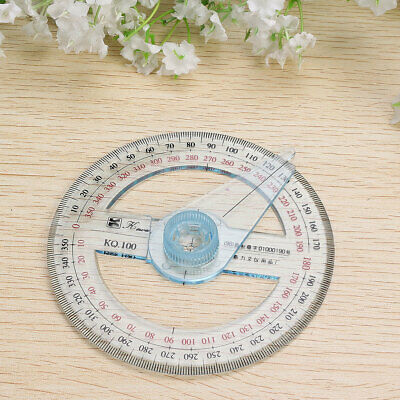 10cm Plastic 360 Degree Protractor Ruler Angle Finder Swing Arm Office School
