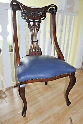 Antique Mahogany Nursing Chair, Re- Upholstered, carved back, REDUCED !!