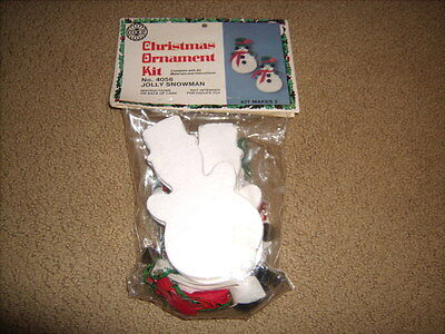 Vintage 1983 Holiday Christmas Ornament Kit sequin JOLLY SNOWMAN makes 2 NEW