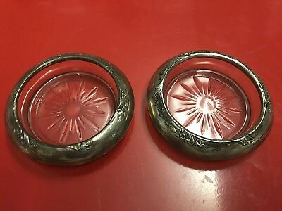 Pair Frank Whiting Sterling Silver & Cut Crystal Candle Bases /Dishes /Ashtrays
