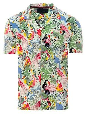 Soulstar Mens Cubano Collar Short Sleeve Summer Parrot Hawaiian Shirt Mint Green