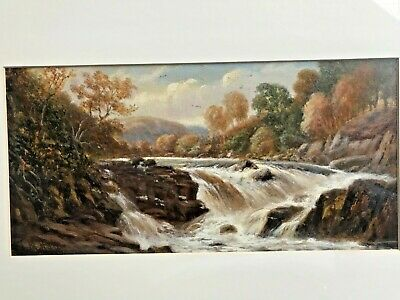 "19th Century  watercolour painting Thomas Morris Ash  "" Falls on the Clyde """
