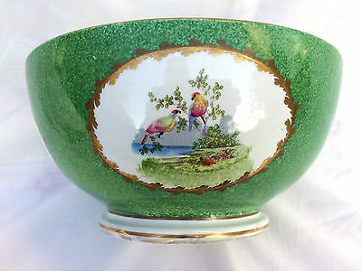 19th / Early 20th C large porcelain bowl George Jones & Sons exotic birds
