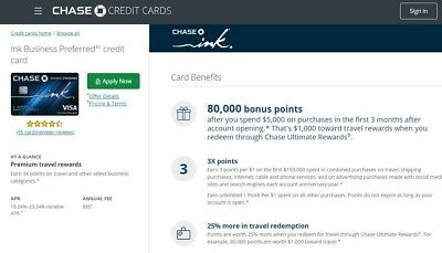 $105 + 80000 BONUS Points CHASE Ink Business Preferred Credit Card Referral