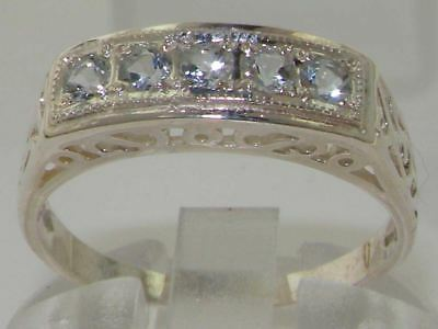 Solid 925 Sterling Silver Natural Aquamarine Ladies Antique style Eternity Ring