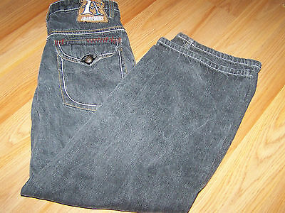 Boys Size 12 Akademiks Faded Black Denim Jeans w Brown Faux Fur & Embroidery EUC