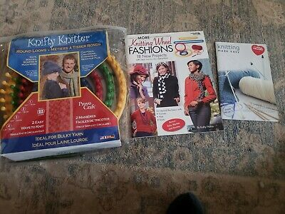 Knifty Knitter Round Loom Set of 4 & 2 project books knitting