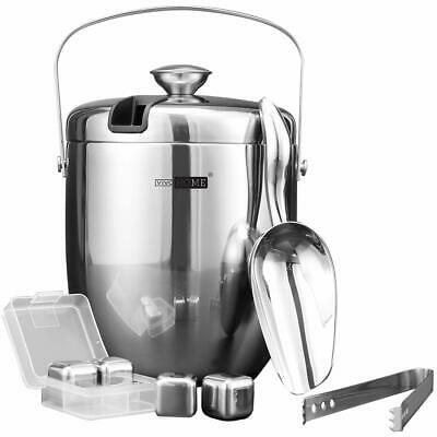 VIVOHOME Stainless Steel Double-Walled Ice Bucket w/ Lid Scoop Tong 4x Ice Cubes