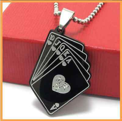 316L Stainless Steel  Black Heart mosaic crystal pendant Womens Mens Necklace