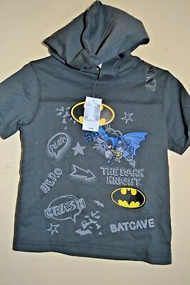 Batman The Dark Knight-Boys Size 3 Toddler-Licensed Short Sleeve Hooded Top-Nwt