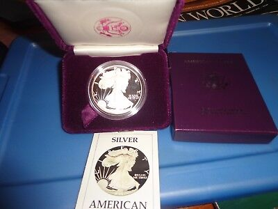 1986-S U.S. American Silver Eagle * Proof * In Box With COA * 1 oz Silver *