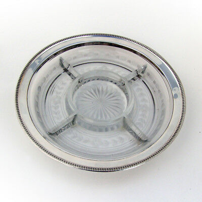 Sectional Serving Platter Sterling Silver Etched Glass Watson 1920