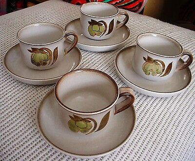"""Denby """"Troubadour"""" Cup And Saucer Sets 4 Available"""
