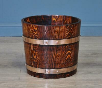 Attractive Small Vintage R A Lister Copper Bound Oak Planter Bucket