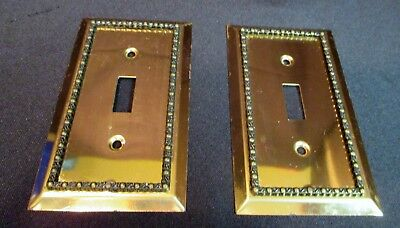 Vintage Pair of Single Goggle Switch Plate Covers Ornate Brass