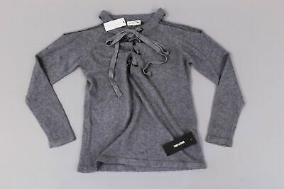 a72ea4f5fedc2 Sugar + Lips Women s Cold Shoulder Lace Front Sweater SV3 Gray Size XS S NWT