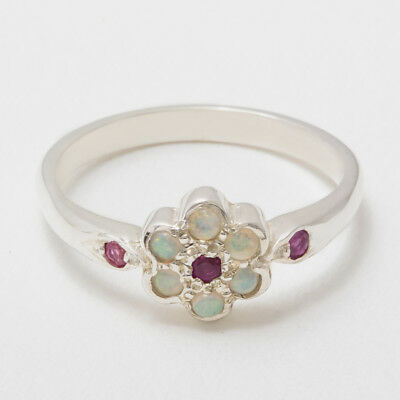 Solid 14ct White Gold Natural Ruby & Opal Womens Cluster Ring - Sizes J to Z