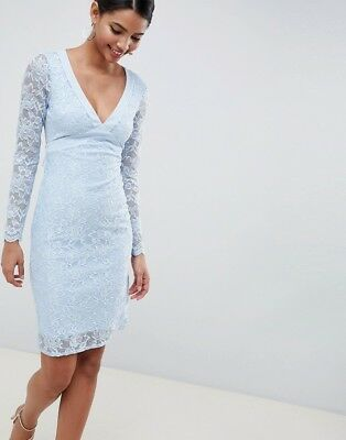 f9cc45b343aed City Goddess Pale Blue Long Sleeve Lace Open Back Pencil Dress Size 8 BNWT