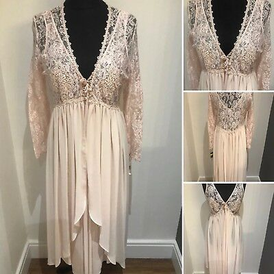 Vintage St Michael Lace Style Dusty Pink Nightie And Negligee 14/16 Valentines