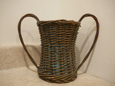 S25 Antique Vintage Wicker Florist Basket Funeral Cemetery Wedding Blue Gold