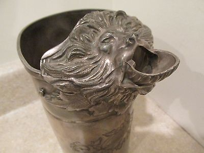 S38 Antique Silver Plate Lion Spout Tankard Water Milk Handled Pitcher Jug
