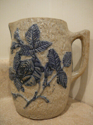 S51 Antique White's Of Utica Ny Molded Stoneware Pitcher Blue Floral Design