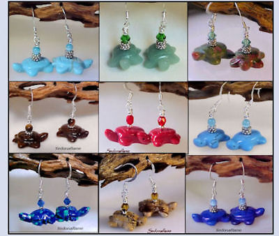 Gemstone TURTLE Fetish Animal Critter Earrings * Your Choice of stone