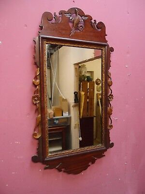 ANTIQUE 1930's CHIPPENDALE DESIGN CARVED MAHOGANY FRAMED MIRROR HO HO BIRD