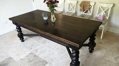 Solid Oak Antique Dining Refectory Table with Barley Twist Legs circa 1900 7ft