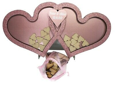 Wooden Personalised Wedding Drop Box Heart Shape Alternative to Guest Book